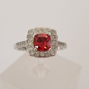 Sterling Red Cushion Ring